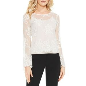 *FIRM* NWT Vince Camuto Sheer Lace Blouse